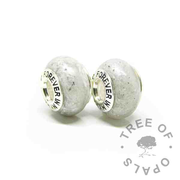 white ashes beads with forever in my heart bead cores. Unicorn white resin sparkle mix