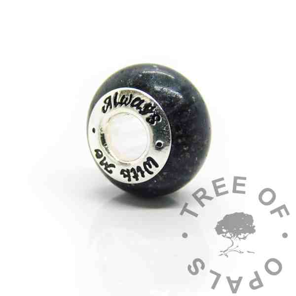 aways with me cremation ashes bead, black sparkle mix