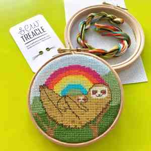 Sloth Mama rainbow cross stitch kit, gift boxed with hoop, threads, needle and pattern from HelloTreacleStore