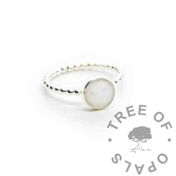 breastmilk bubble band ring with classic milk (no pearly sparkle, booby awards or birthstone). Rubover 8mm setting