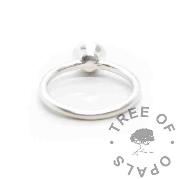 Ayla Solitaire Ring, back view shows the curved lower edges. Fill with resin and it's secure, or use a mould. Cast Argentium 935 anti-tarnish silver (higher purity than sterling)