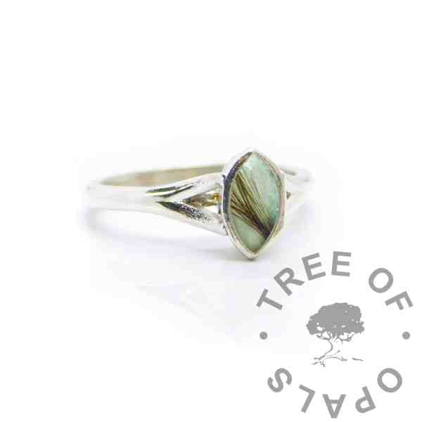 Aqua hair Hannah Marquise ring, angelic aqua resin sparkle mix solid 935 purity Argentium silver, cast by hand in Scotland. Split shank band, engravable on the inside. 8x4mm marquise setting for filling or fitting a cabochon