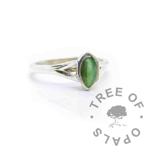 lock of hair Hannah lock of hair ring with basilisk green resin sparkle mix, solid 935 purity Argentium silver, cast by hand in Scotland. Split shank band, engravable on the inside. 8x4mm marquise setting for filling or fitting a cabochon