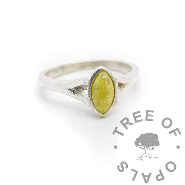yellow Hannah cremation ashes ring, cremation ashes and chimera yellow resin sparkle mix. 8x4mm marquise setting
