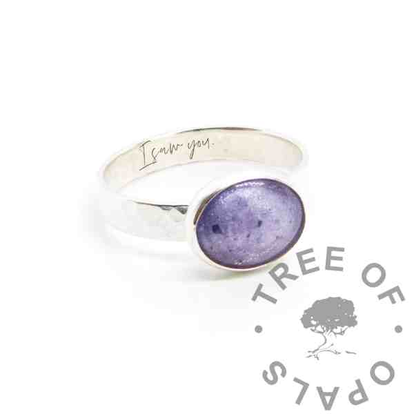 """Cremation ashes hammered ring, orchid purple resin sparkles. Solid silver hand made setting with engraving in Silver South Script font """"I saw you"""""""