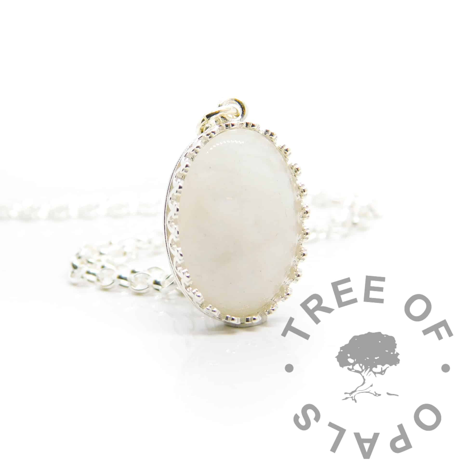 Classic breastmilk oval necklace. Crown point oval setting in solid sterling silver, 925 stamped. Shown with a medium classic chain (not included)