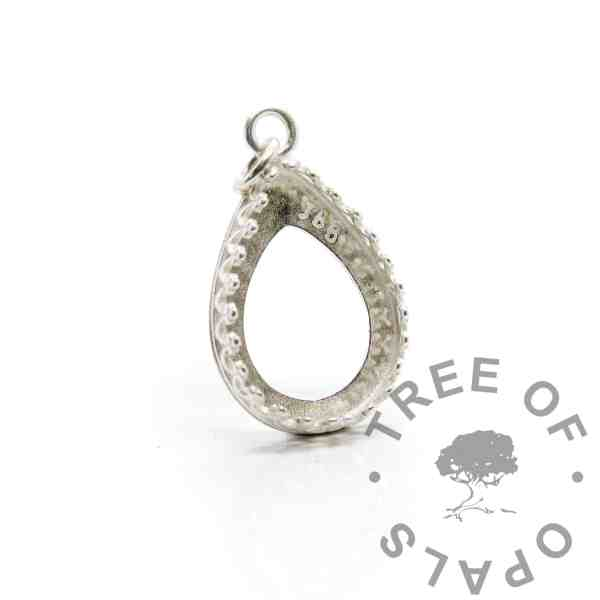 18x13mm medium shiny silver crown teardrop setting, 925 stamped solid sterling silver with a jump ring