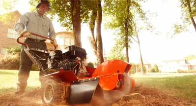 Stump grinding services using machinery
