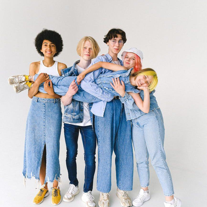 multiethnic schoolkid with teenagers in studio