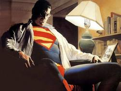 Superman, Clark Kent, sad, reflective, by Alex Ross: This is a drawing by Alex Ross of Superman a.k.a. Clark Kent. The Man of Steel sits alone in his Supermain suit with a troubled look on his face and his Clark Kent shirt hanging from his shoulders.