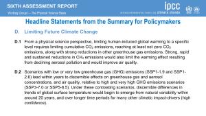 AR6 Headline Statements: Limiting Future Climate Change
