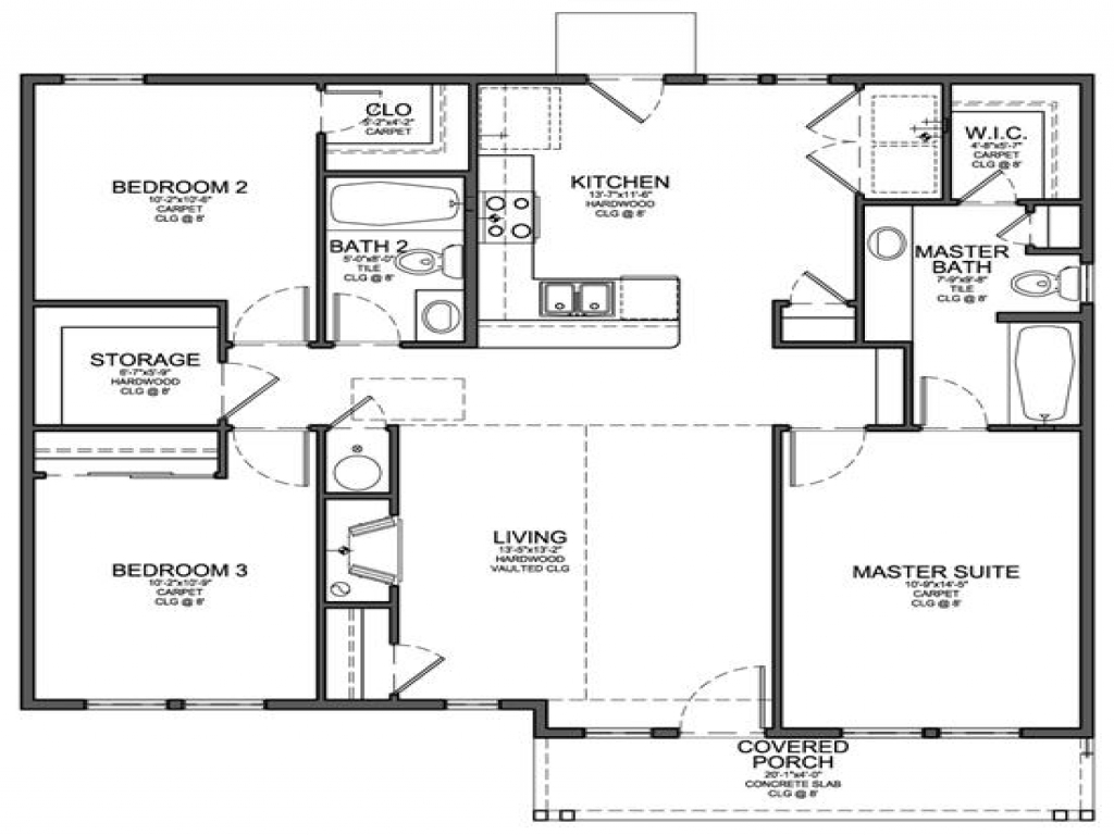 Small 3-Bedroom Floor Plans Small 3 Bedroom House Floor