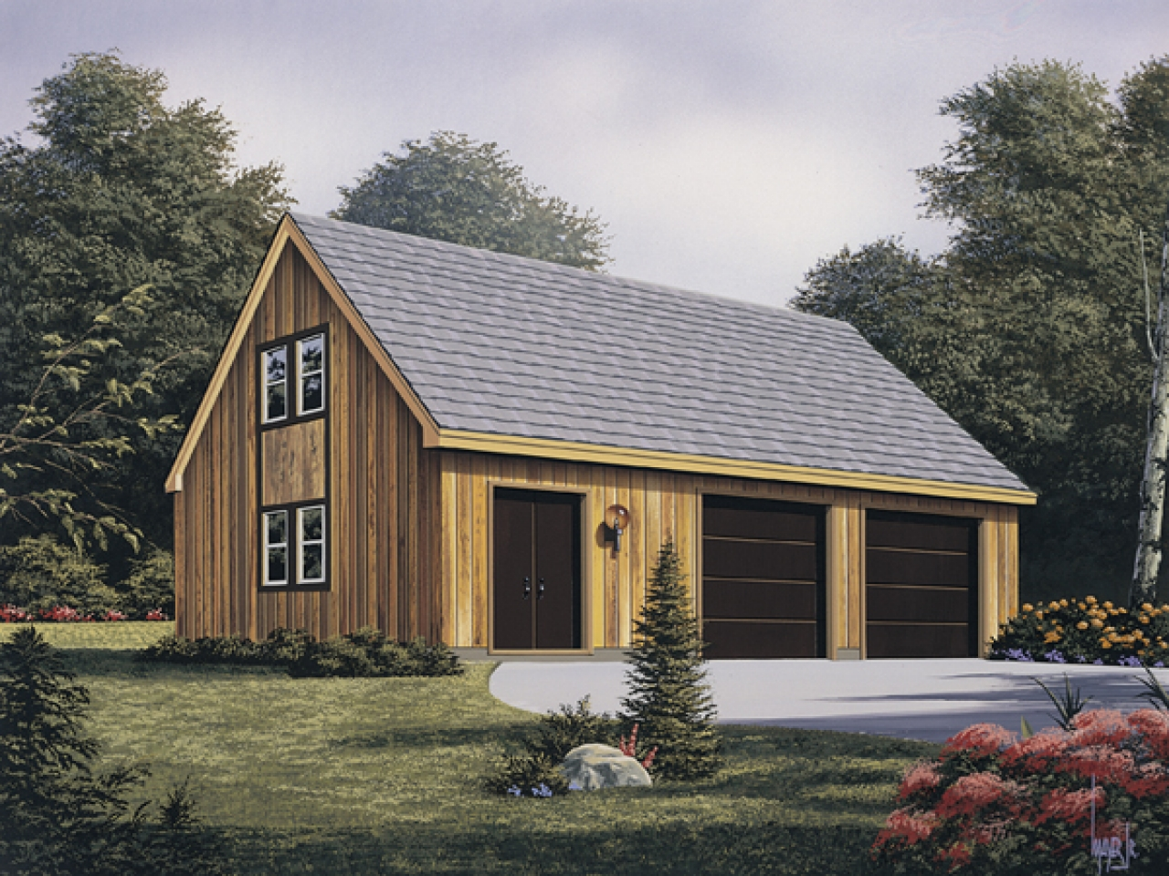2 Car Garage Plans Garage With Workshop Plans, Rustic