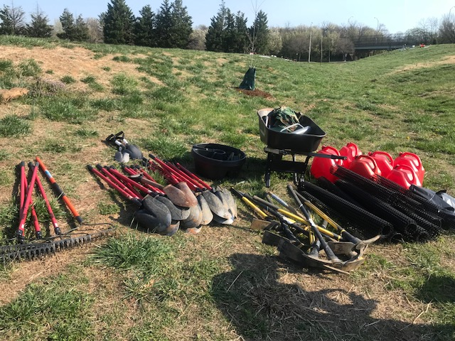 Tools await tree planters in Ben Brenman Park on April 14. Photo by Tåsi Ada.