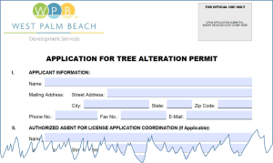 part of West Palm Beach's application for tree alteration