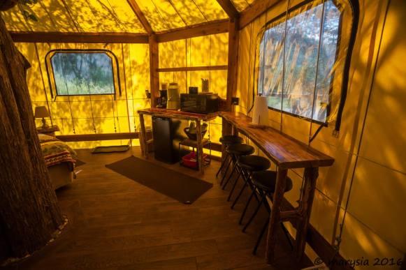 Kitchenette inside an Aurora treehouse