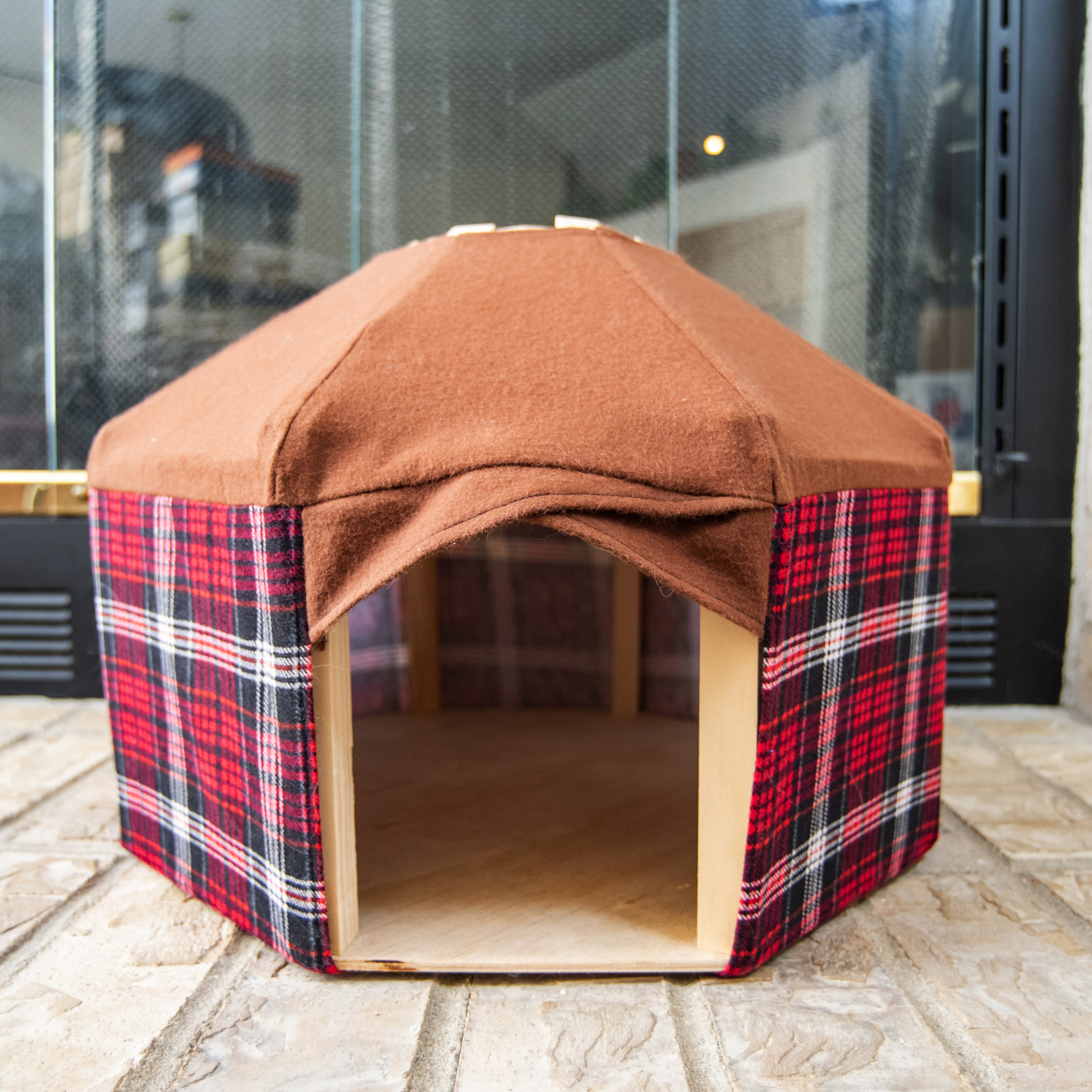 Red plaid Pet Yurt – pattern pet tent for cats, rabbits, and small dogs