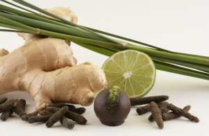 Ginger on the left, medicinal and culinary herb