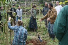 Doug showing tree planting in Madeira, Portugal 2014 Weekend food forest course