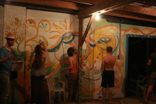 Live Art mural painting on the back porch of the bar at treasure lake