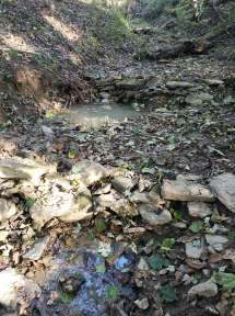 rock dams producing pools in stream at Treasure Lake, KY