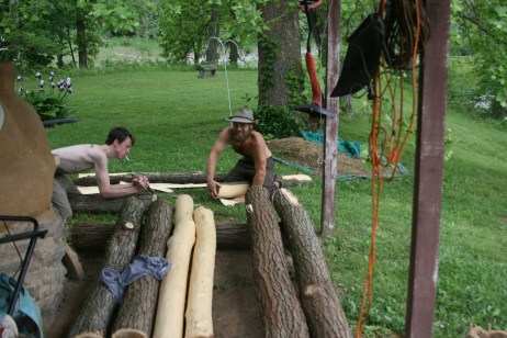 log peeling for the stage posts