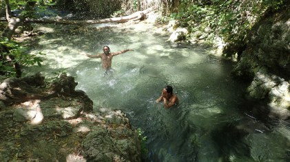 Me and Julien rock jumping and enjoying the cold waters