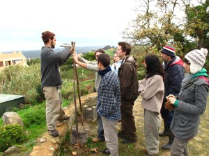 Doug Crouch teaching A frame construction during a swale implementation at a winter PDC in Portugal