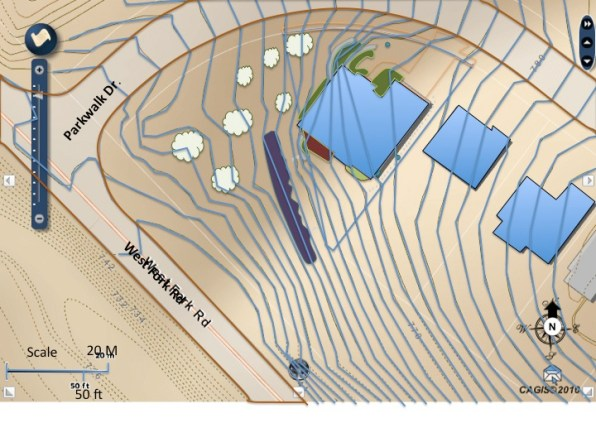 Swale plan view schematic with contour lines showing a swale that was implemented and its following of contour