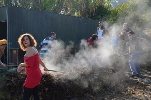 Hot Compost Pile: Escola Da Terra, Portugal: Students flipping a very powerful tool for accelerating succession