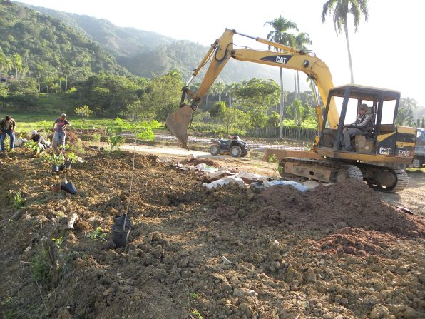 machine digging rain gardesn at jamaca de dios dominican republic