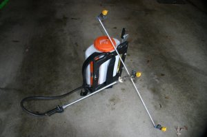 backpack sprayer with boom, can be used for microbes instead of chemicals