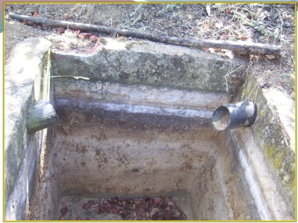 empty silt trap showing entry and exit
