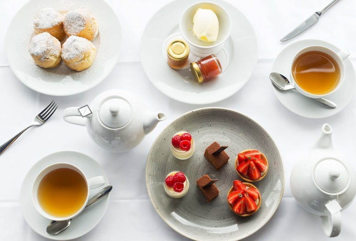 A spread of delights available at the OXO Tower including a Cream Tea and mini desserts