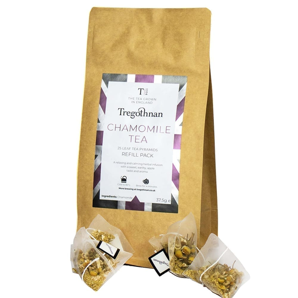 Chamomile 25 Loose Leaf Tea Pyramid on a white background
