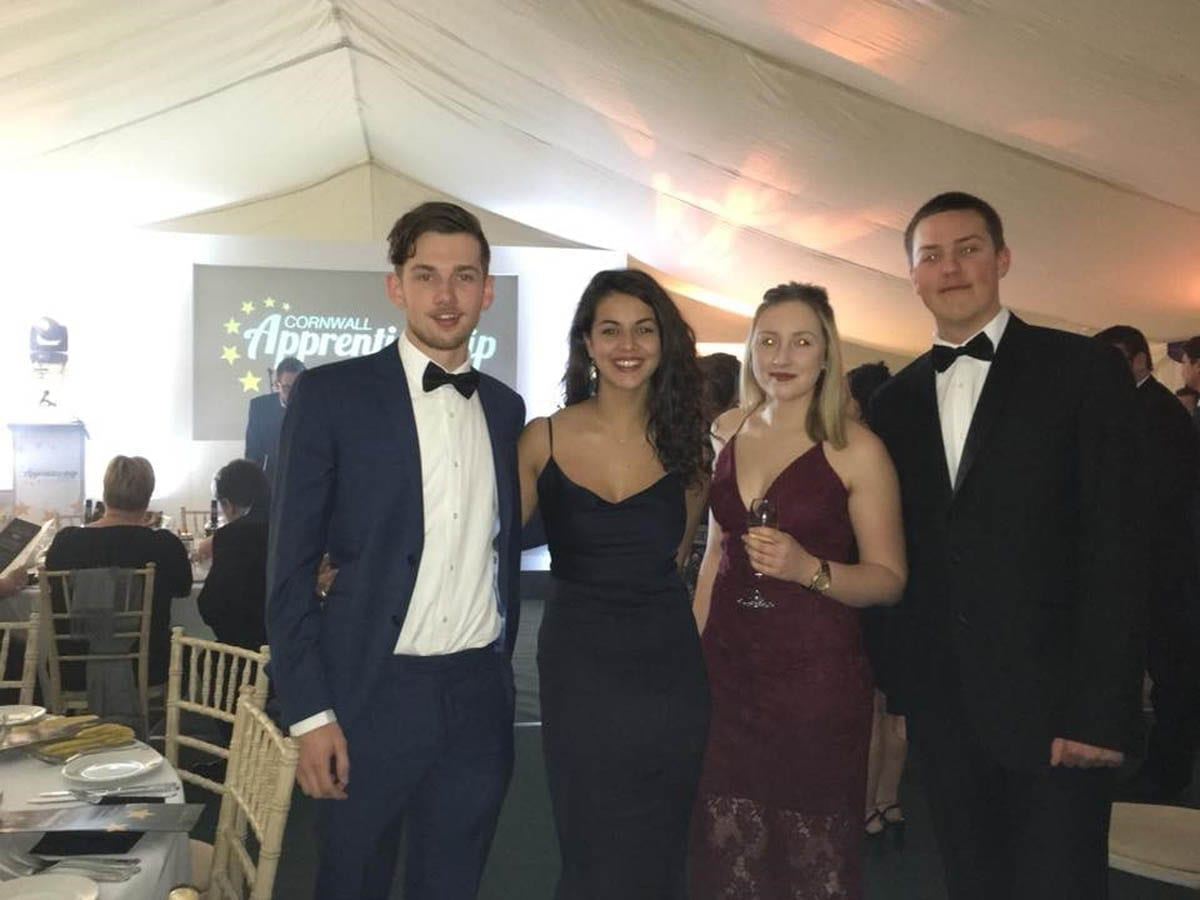 Tregothnans Apprentices wearing our smartest black ties and cocktail dresses