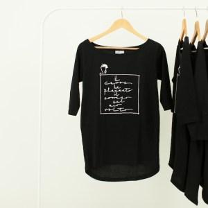 Maglia Donna nera manica 3/4 con scritta