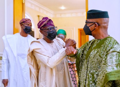 SANWO-OLU PAYS CONDOLENCE VISIT TO GOVERNOR ABIODUN OVER FATHER'S DEATH  •Says the Late Pa Abiodun Lived A Good Life   Trek Africa