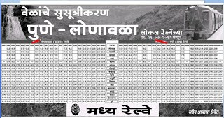 Pune Lonavala Local train free timetable