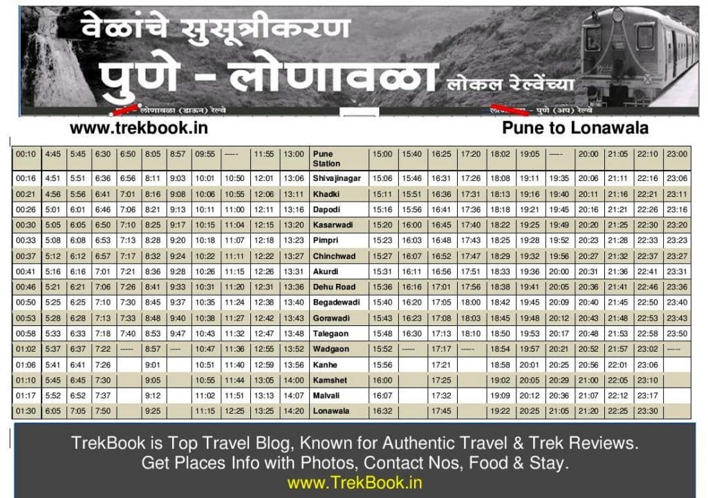 New Pune Lonavala local train timetable [2018 - With tourist destinations]