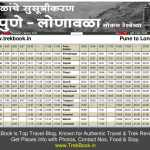 New Pune Lonavala local train timetable [2017 – With tourist destinations]
