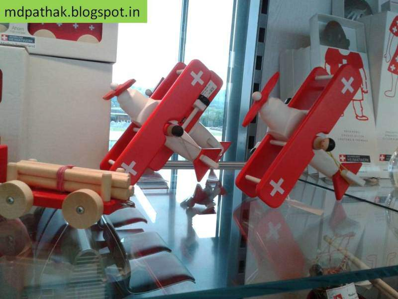 Switzerland souvenirs wooden airplanes