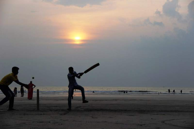 cricket on the sea beach
