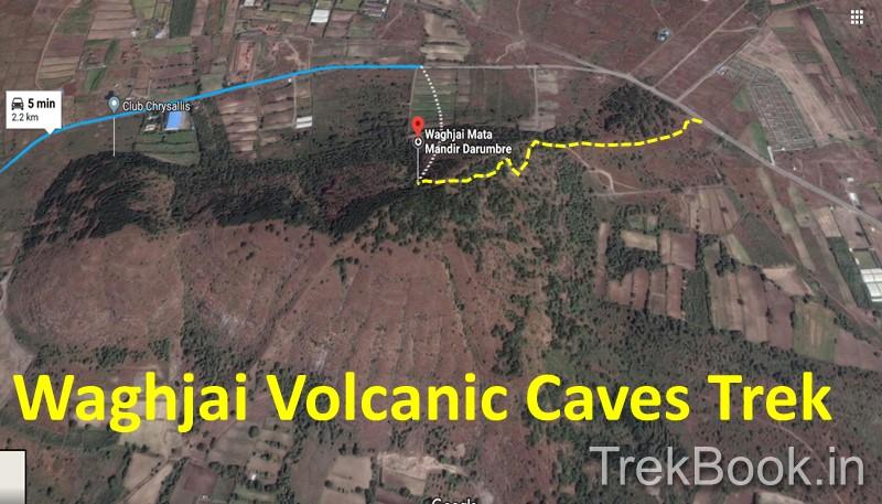 Map of Waghjai Volcanic Caves Trek from RainBow Island Hinjewadi