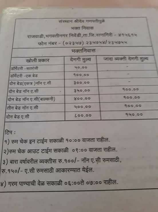Ganpatipule bhakta niwas rate card