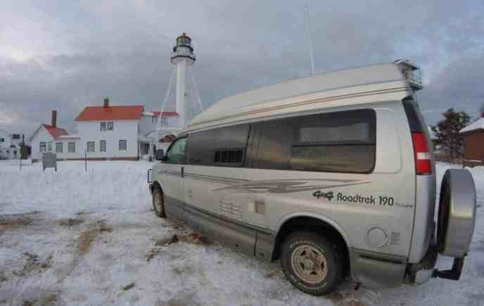 Roadtrek van at Whitefish Point Lighthouse and Museum