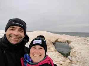 The Trekers on a frozen beach