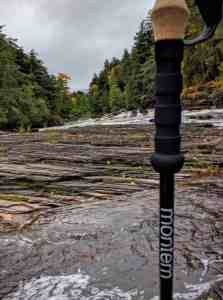 treking pole in river