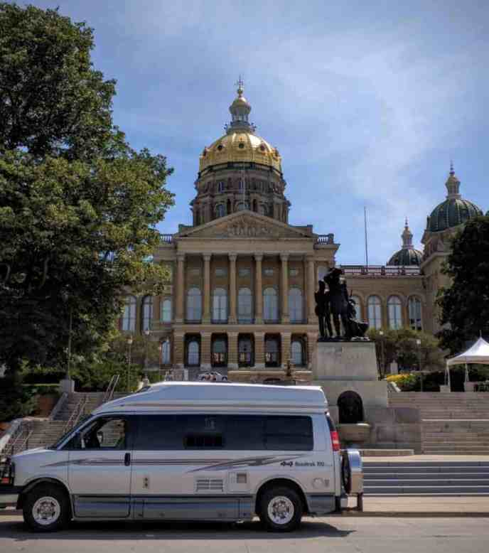 Class B RV in front of Iowa Capitol