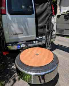 tabletop on RV spare tire